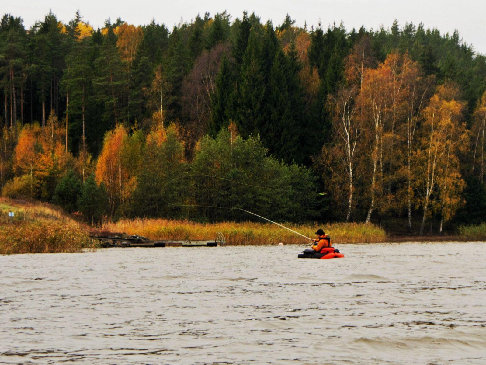 Svensson fiskar gädda på Gålö.
