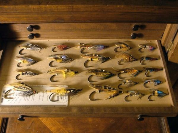 cabinet with Old hardy malloch flies
